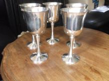 5 X ELEGANT HEAVY QUALITY SILVER PLATED WINE GOBLETS PORTUGAL STAMP 5.75""